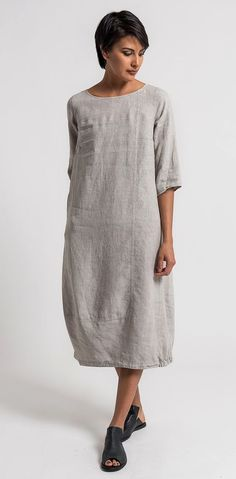 Oska Linen Tuyet Dress in Natural | Santa Fe Dry Goods