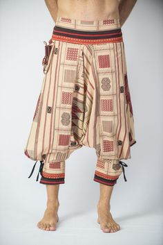 Amazing Unique Harem Pants made from fairtrade beautiful traditional hill tribe fabric from the North of Thailand. With open-side legs and ankle cuffs with adjustable straps, you can move freely while
