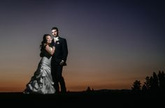 Dramatic Bride and Groom night sunset wedding portrait at Beacon Hill Event Center photo by Matt Shumate Photography