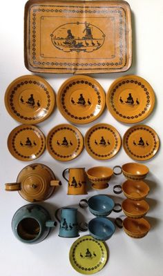 "Vintage 1924 Wolverine Tin Litho Toy Tea Sets ""Dutch Girl with Geese Windmill"" 
