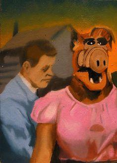 Dream Painting in oils of Alf in a dress - Creepy & Surreal Oil Original