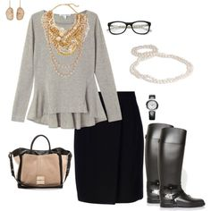 """""""Gray, Black, Gold, and Pearls"""" by style-inspiration-and-design on Polyvore"""