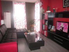 aménagement deco salon gris blanc rouge | Salons, Salon gris and ...