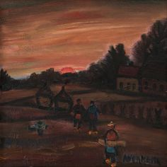 Alfons Vermeir (1905-1994) Landscape with farmers, oil on painter's board 60 x 60 cm, signed lower right. Collection Simonis & Buunk, The Netherlands.