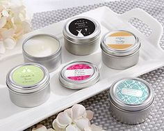 Metal candle tins, featuring a customized label with details about your special day, make great thank you gifts for your wedding or bridal shower guests!