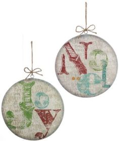Set-2-NWT-8-Red-Green-Gold-Newsprint-NOEL-JOY-Metal-CHRISTMAS-Disk-Ornaments