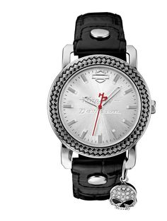 <p> Charmed. I'm sure. You will be, too, when you accessorize with the Willie G® Charm watch embellished with dazzling Swarovski® crystals. The silver-white brushed sunray dial, housed in a stainless steel case with embossed cable-pattern bezel, features the iconic Bar & Shield® silhouette and off-sets the red second hand with signature ...