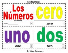 Spanish Numbers Bilingual Coloring Booklet - Los Numeros by Sue Summers - One booklet with color, one that students can color.