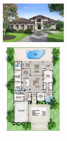 49 Ideas For House Plans Open Floor Florida Open Floor House Plans, New House Plans, Dream House Plans, 4 Bedroom House Plans, Floor Plan 4 Bedroom, Mediterranean House Plans, House Blueprints, Sims House, Florida Home