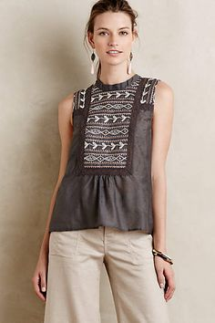 Embroidered Peasant Tank - anthropologie.com