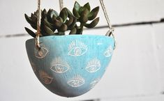 "Hanging Planter w/ Hand Carved Eye Design / Turquoise Blue ""Eye"" Sgraffito Hanging Succulent Pot / Cactus Planter / Organic"