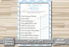 Printable Price is Right Baby Shower Game Blue by DigitalitemsShop