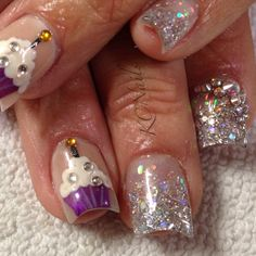Make a Wish. Cupcake acrylic nails. Hand painted nail art, silver fade with Swarovski Crystals. KCNails