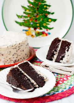 Chocolate Cake with Kahlua Chip Frosting http://bakedbree.com/chocolate-cake-kahlua-chip-frosting