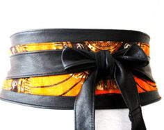 Black Leather Ankara Print Obi Corset Belt |Ankara Wax Print|Leather tie belt| Leather Belt| Handmade Belt |Plus size belts| African Print
