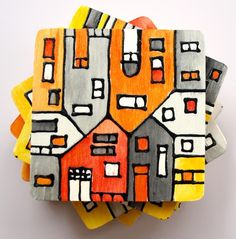 wood tile coasters hand painted orange & grey