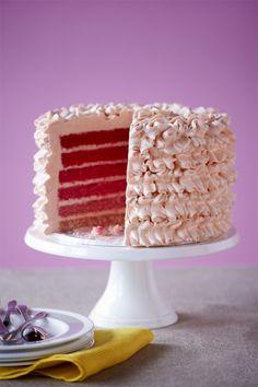 Sweet Bloom Cakes vanilla velvet cake with Swiss meringue cream ruffles. Yum!