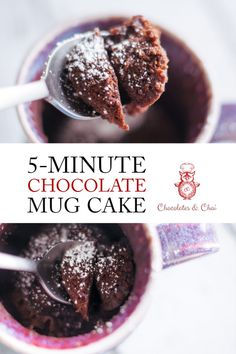 This 5-minute Chocolate Mug Cake recipe will CHANGE YOUR LIFE. Moist and full of flavor chocolate cake made in minutes! | Chocolates & Chai | Recipes #chocolatecake #mugcake #easydessert