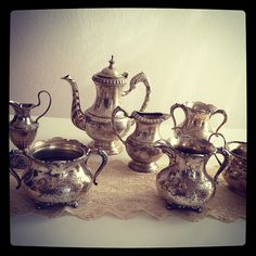 Selection of tarnished silver vessels   Flickr - Photo Sharing!