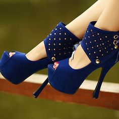 Lovely Blue Rhinestones Suede Stiletto Super High Fashion Sandals