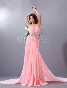 Doce a linha Pink Chiffon Beading gola v vestido de baile de varredura - Milanoo.com