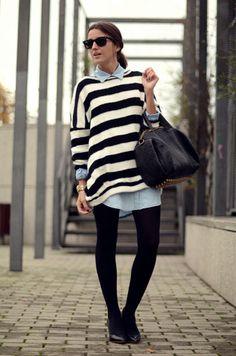 stripes. check. chambray. check. tights. check. boots. check.
