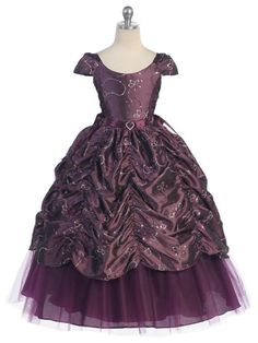 PLUM SEQUIN PRINCESS BALL GOWN