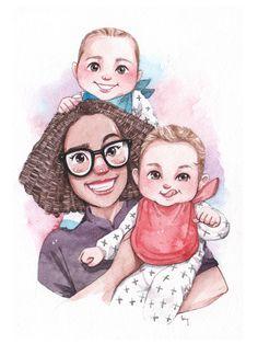 Photo To Cartoon, Cartoon Dog, Portraits From Photos, Family Portraits, Watercolor Portraits, Watercolor Paintings, Paint My Photo, Family Portrait Painting, Family Drawing