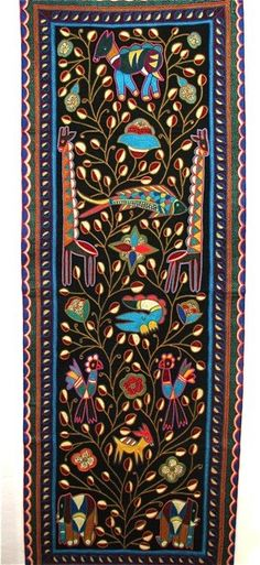 Africa | 'Tree of Life with African Animals'. Kaross Textiles; Hand embroidered from the Shangaan tribe of Limpopo Province, South Africa.