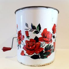 Vintage Flour Sifter 1950s Rose by rebeccaheartsvintage on Etsy