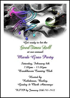 Add spice to your jazz it up business company party invitations for for totally uniqueness add a colorful photo to your popular jazz it up mardi gras stopboris Gallery