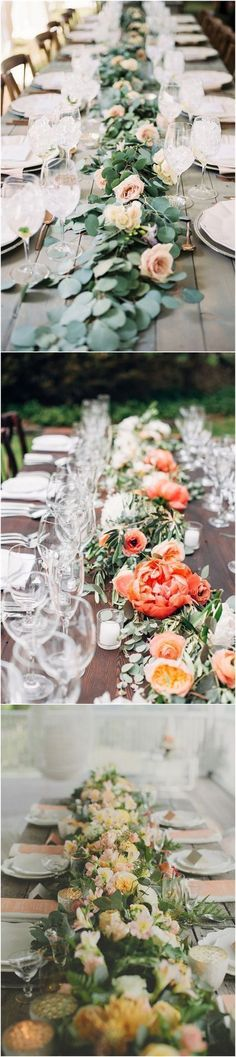 Wedding Decorations » Wedding Trend—23 Unique Floral Wedding Garland Table Runner Ideas #weddingdecoration