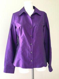 Vtg CELINE Paris purple Blouse France 42 US 8