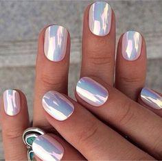 Pastel pink metallic nails
