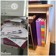Before and after when a reader, Jennifer, decluttered her junk mail pile on her kitchen counter {featured on Home Storage Solutions 101}
