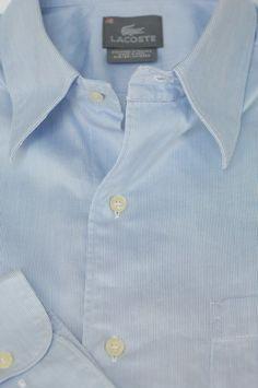 Lacoste $165 Light Blue Stripe Luxury Cotton Casual Shirt M Medium #Lacoste #ButtonFront
