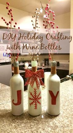 20 Wine Bottle Christmas Crafts To Go For A Festive Decor Blended With Some Upcycling