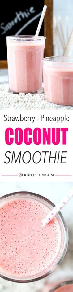 """Strawberry Pineapple Coconut Smoothie - A pinner said, """"A morning pick me up with only three ingredients needed! This strawberry pineapple coconut smoothie is bright, refreshing and contains enough vitamin C to meet your daily RDA! Strawberry Banana Smoothie, Coconut Smoothie, Juice Smoothie, Smoothie Drinks, Fruit Smoothies, Healthy Smoothies, Healthy Drinks, Simple Smoothies, Vegetable Smoothies"""