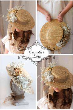 Canotier Lina – Eva M. Rodriguez – Join in the world of pin Spring Hats, Summer Hats, Fancy Hats, Diy Hat, Kentucky Derby Hats, Flower Hats, Wedding Hats, Love Hat, Fabric Jewelry