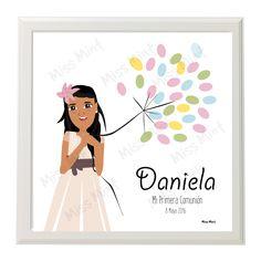 regalo niña primera comunión personalizado miss mint   arbol de huellas con retrato mint de la protagonista #fingerprint #arboldehuellas #arbol #de #huellas #primera #comunión #niña #coolkids #customportrait #ilustraciones