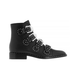 Givenchy Studded Buckle-Strap Ankle Boots at Barneys New York Studded Ankle Boots, Black Ankle Booties, Black Leather Ankle Boots, Studded Leather, Heeled Boots, Bootie Boots, Shoe Boots, Short Heel Boots, Short Black Boots