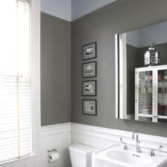 Bathroom idea! Love the gray paint color.