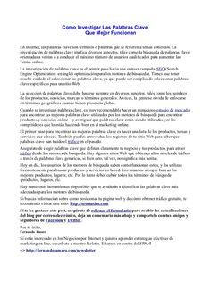 Como Investigar Las Palabras Clave Que Mejor Funcionan by Fernando Amaro via Slideshare