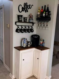 best DIY coffee station ideas for all coffee lovers - tiny space co . - best DIY coffee station ideas for all coffee lovers – tiny space corner coffee bar ba - Decor, House Interior, Bars For Home, Apartment Decor, Diy Home Decor, Interior, Home Diy, Small Apartment Decorating, Home Decor