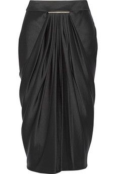 Jason Wu Draped duchesse-satin midi skirt | NET-A-PORTER