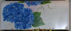 Hand Painted Blue Hydrangea Mailbox on White by maureenbaker, $65.00