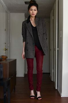wine skinny jeans, over-sized tweed coat
