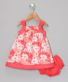 Take a look at this Coral Floral Whimpy Dress & Diaper Cover - Infant by Periwinkle on #zulily today!