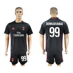 2017-2018 Tenue de Foot A.C. Milan 99 Donnarumma Goalkeeper Adidas Noir Maillot de L Équipe De