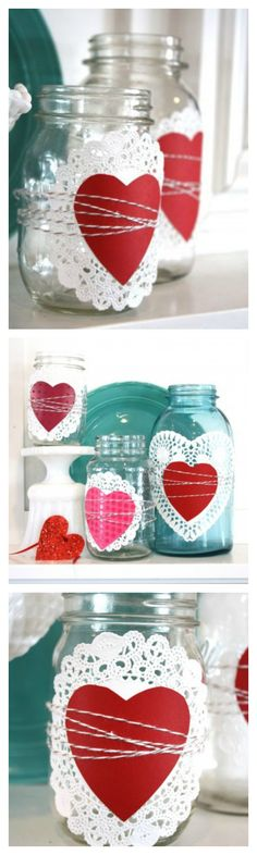 Cutest Valentine's Day craft ever?! Use a paper doily, cutout heart, and twine to transform a few Mason jars into an elegant display for a mantel or entryway.
